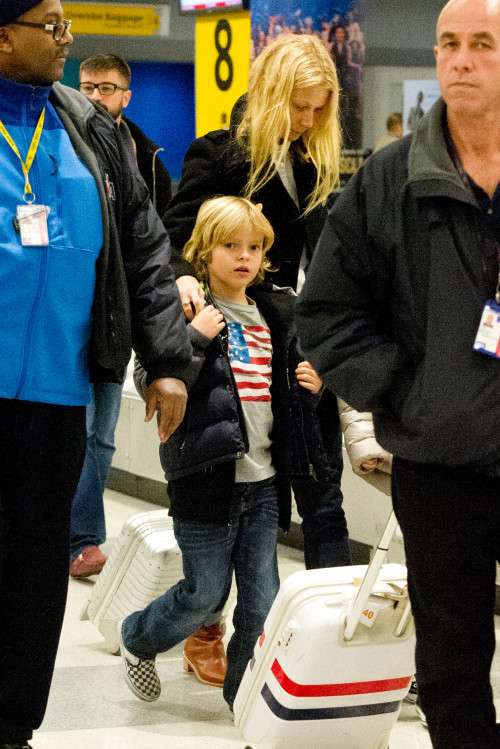 Gwyneth Paltrow and her kids arrive at JFK Airport