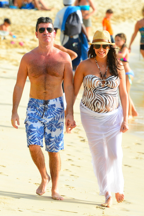 Simon Cowell and Lauren Silverman soak up the Barbados Sun **USA ONLY**