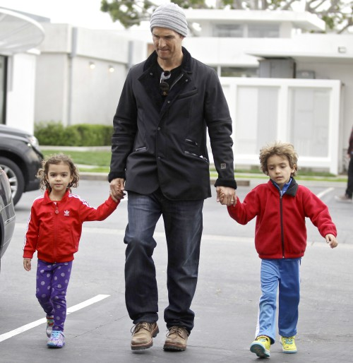 "*EXCLUSIVE* Matthew McConaughey takes his kids to see the new ""Lego Movie"""