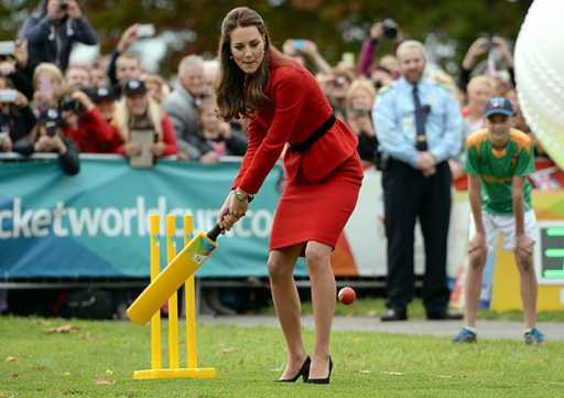 Duchess of Cambridge Kate Middleton plays cricket in heels