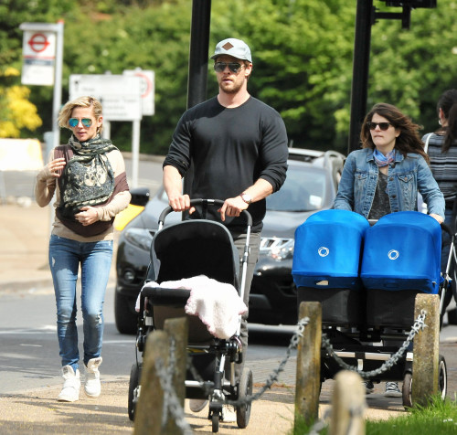 *EXCLUSIVE* Chris Hemsworth and Elsa Pataky enjoy a family stroll on the Thames River **USA ONLY** **WEB MUST CALL FOR PRICING**
