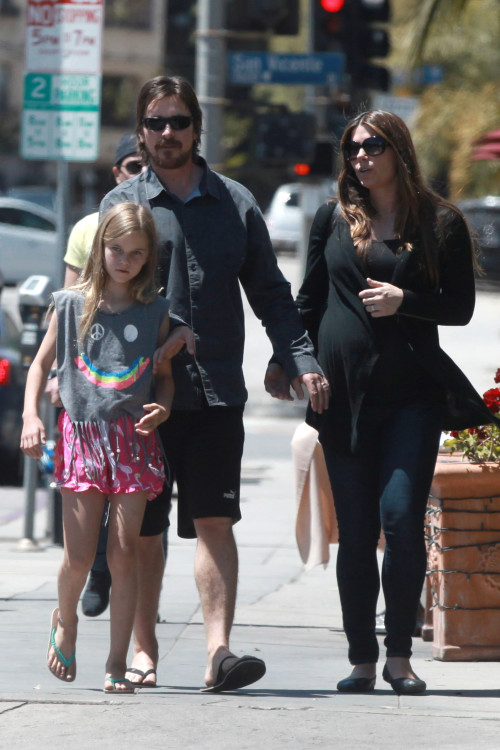 *EXCLUSIVE* Christian Bale joins pregnant wife Sibi and daughter Emmeline for Mother's Day Lunch