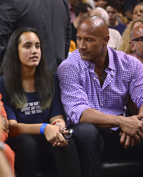 Dwayne Johnson Takes His Daughter To The Miami Heat Game