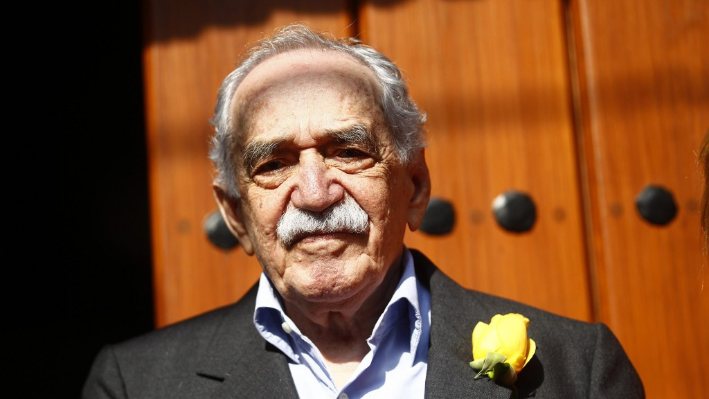 Image: Colombian author Gabriel Garcia Marquez stands outside his house on his 87th birthday in Mexico City
