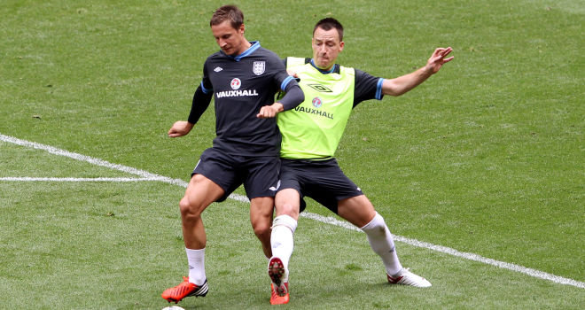 Phil Jagielka and John Terry together on England duty in 2012
