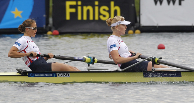Helen Glover and Polly Swann on their way to a gold medal