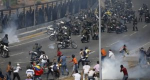 Venezuelan army vehicle plowed into crowd protesting oust of President Maduro
